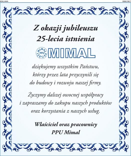 Ogłoszenie jubileusz Mimal